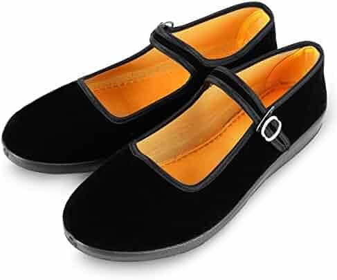 0fef549b2a3f2 APIKA Women's Velvet Mary Jane Shoes Black Cottton Old Beijing Cloth Flats  Yoga