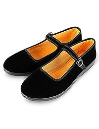 Women's Velvet Mary Jane Shoes Black Cottton Old Beijing Cloth Flats Yoga Exercise Dance Shoes