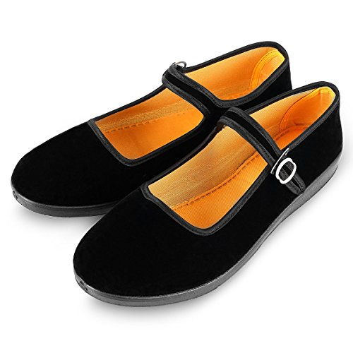 APIKA Women's Velvet Mary Jane Shoes Black Cottton Old Beijing Cloth Flats Yoga Exercise Dance Shoes (US ()