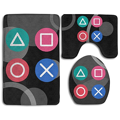 - Playstation Vintage Icon Fashion Bath Mat Set Bathroom Carpet Rug Non-Slip 3 Piece Bath Mat Set