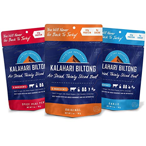 Kalahari Biltong | Air-Dried Thinly Sliced Beef | Variety Pack | 2oz (Pack of 3) | Zero Sugar | Keto & Paleo | Gluten Free | Better than Jerky