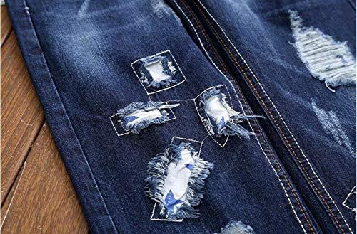 Ricamo Jeans Fori Pantaloni Cotone Cowboy Da Marea Ragazzo Ssig Sottili Cher Fashion Denim Realtà Qk In Sfilacciato lannister Blau Patch Dritto Uomo ngqZfHwvO