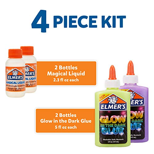 Elmer'S Celebration Slime Kit | Slime Supplies Include Assorted Magical Liquid Slime Activators and Assorted Liquid Glues, 10 Count & Glow in The Dark Slime Kit | Slime Supplies, 4 Piece Kit