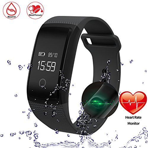 Onston Smart Watch Bracelet Waterproof Ip67 Fitness Tracker With Heart Rate Monitor Blood Pressure Blood Oxygen Monitor Compatible With Ios Andriod Smartphones  Black