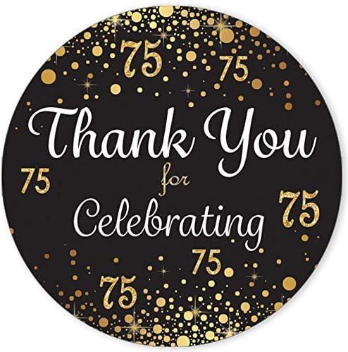 75th Birthday Party Favors For Adults \u2013 324 Art Deco Gold Hershey Kiss Sticker Birthday \u2013 75th Birthday Decorations Birthday Decor \u2013 12646