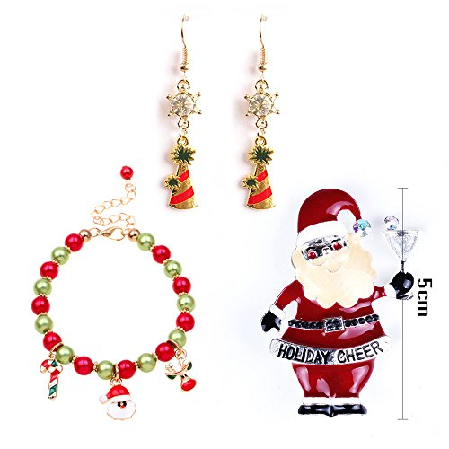 MOLLYCOOCLE Accessories Santa Claus Reindeer Beads Charm Bracelet with Bling Christmas Tree Earrings & Cute Snowman Brooch Best Gifts for Women Girls (Snowmans Best Friend Rhinestone)