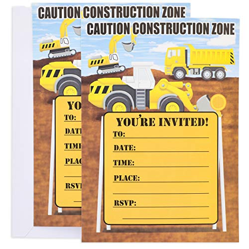 Juvale 24-Pack Kids Construction Truck Invitation Cards - Fill-in Invites with Envelopes for Boys Birthday Party Supplies, 5 x 7 Inches