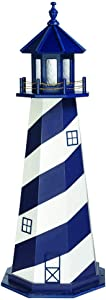 Country Living Primitives Amish Handcrafted Wood Garden Lighthouse - Patriot Blue & White Cape Hatteras (5 Foot)