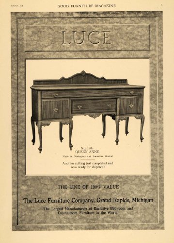 1918 Ad Luce Furniture Queen Anne Mahogany Settee Table - Original Print Ad - Mahogany Settee