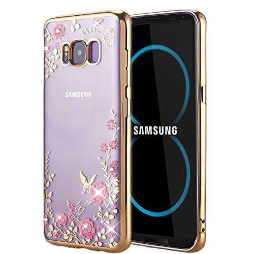 Galaxy S8 Case, HAOTP Floral Butterfly Secret Graden Design Pattern with Bling Diamond Clear Soft Flexible TPU Gel Slim Back Case Cover for Samsung Galaxy Galaxy S8 - Gold