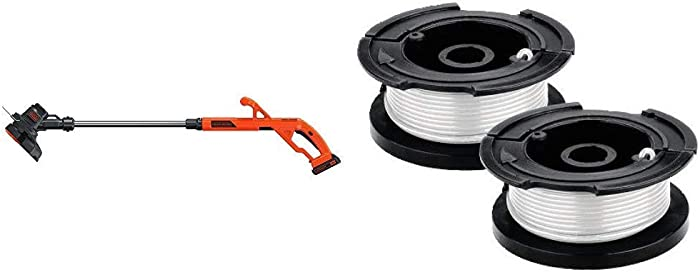 BLACK+DECKER 20V MAX String Trimmer/Edger Kit with Trimmer Line Replacement Spool, Autofeed 30 ft, 0.065-Inch, 2-Pack (LST201 & AF100-2)