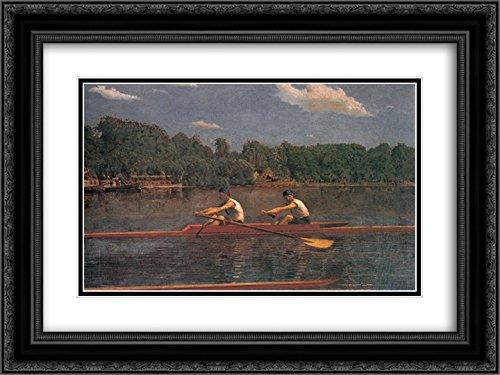 Thomas Eakins 2X Matted 24x18 Black Ornate Framed Art Print 'The Biglin Brothers Racing'