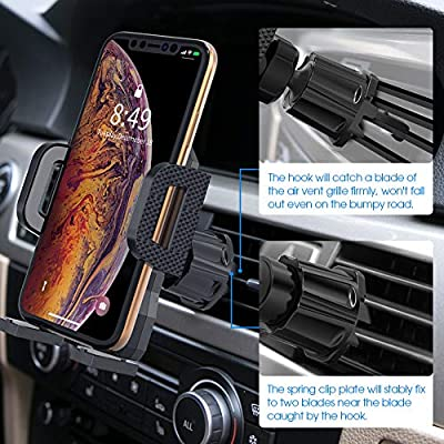 Air Vent Phone Holder for Car,Miracase Handsfree Universal Car Phone Mount Cradle with Adjustable Clip Compatible with iPhone XR/XS Max/XS/X/8/8 P/7/7 P,Galaxy S10/S10 +/S9/Note 9 and More(Gray)