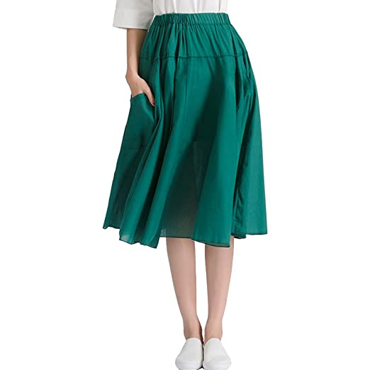 5584fc2c5350 Women's Lightweight Cotton Bohemian Big Swing Midi Skirt with Pocket Dark  Green at Amazon Women's Clothing store: