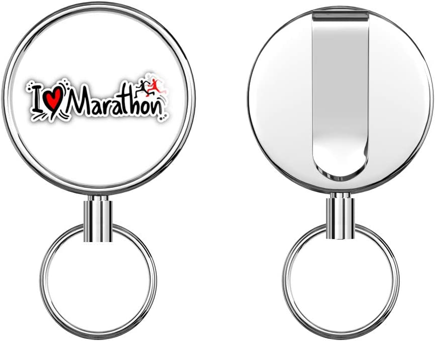 I Love Marathon Sport Slogan Retractable Badge Holder Reel Metal ID Badge Holder with Belt Clip Key Ring for Name Card Keychain