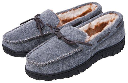 Mixin Hombres Casual Felt Vamp Piel Sintética Forrada Suela De Goma Interior Al Aire Libre Mocasín Zapatillas Planas Zapatos Gris