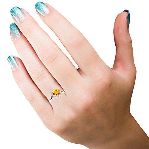 14K White Gold Citrine & White Diamond Halo Style Bridal Engagement Ring (Size 7) by DazzlingRock Collection (Image #1)