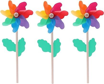TOYANDONA 24pcs 12cm molinetes de Palo de Madera Molino de Viento Colorido Juguete Conjunto Spinner de Viento para Decoraciones de Fiesta de jardín y jardín de Patio: Amazon.es: Juguetes y juegos