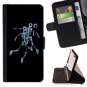 For Samsung Galaxy S6 Case , Esqueleto del cráneo de Fútbol- la tarjeta de Crédito Slots PU Funda de cuero Monedero caso cubierta de piel