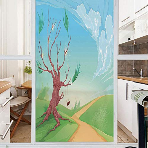 Decorative Window Film,No Glue Frosted Privacy Film,Stained Glass Door Film,Romantic Landscape with Tree and A Swing by Road Path in Wind Cartoon Print,for Home & Office,23.6In. by 78.7In Brown Blue G