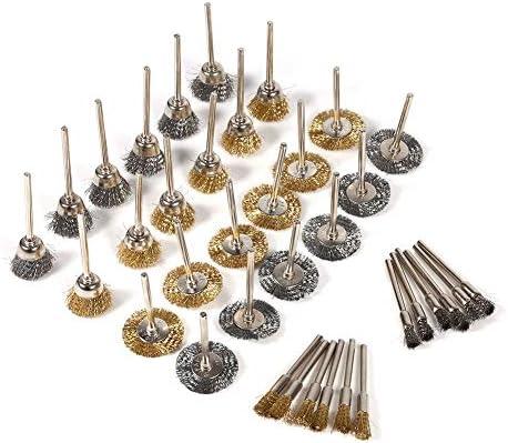 MAGT Drahtbürste, 36-TLG. Messing-Stahldrahtbürsten-Set, Mini-Größe, Robust, Stiftschalen-Radförmig, Polieren, Reinigen, Präzisionswerkzeuge, Komplettset