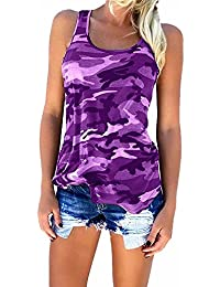 Womens Camouflage Casual T Shirt Camo Sleeveless Tanks Top Vest and Short