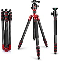 Neewer Carbon Fiber 67/170cm Tripod Monopod with 360 Degree Ball Head,1/4Quick Release Plate,and Bubble Level Including Carrying Bag for DSLR Camera,Video Camcorder,Load Capacity 33lbs/15kg