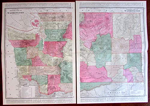Washington state c.1880's large lithographed hand color old map 2 sheets