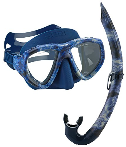 SEAC One Camouflage Spearfishing Freediving Mask Snorkel Set, Blue, Blue Camo