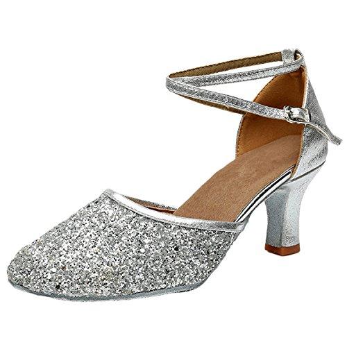 Azbro Mujer Moda Zapato de Baile Fiesta Latín Correa Cruzada Puntera Punta Plateado