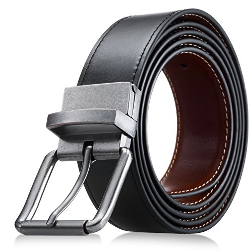 Men's Genuine Leather Dress Belt, Reversible Belt for Men Black/Brown (Onesize, Black Brown With Gift ()