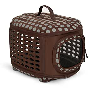 Petmate 21787 Curvations Cat and Dog Retreat Kennel and Carrier, Brown/Gray