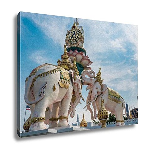 Ashley Canvas, Elephants Statue Lift Lotus To Praise King Of Thailand Grand Palace Landmark In, Home Decoration Office, Ready to Hang, 20x25, AG5255863 by Ashley Canvas
