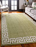 Cheap Unique Loom Athens Collection Geometric Casual Modern Border Light Green Area Rug (5′ x 8′)