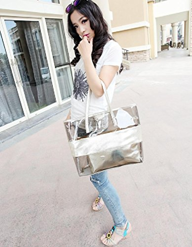 Bag Semi Versatile clear Beach Tote Stripe Silver FANCY LOVE Shoulder Waterprof tzO11q