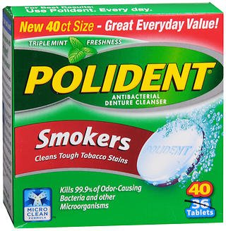 Polident Smokers Tablets - 40 ct, Pack of 2 (Polident Denture Cleaner 40)