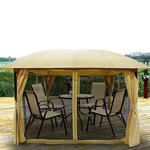 Quictent 11.5x11.5 Metal Gazebo with Netting Screened Pergola Canopy Patio Gazebo Heavy Duty Waterproof Double Curtains (Tan)