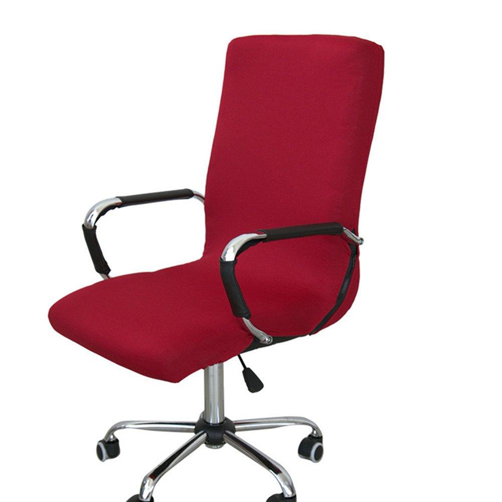 Lembeauty Tessuto elastico girante della sedia elasticizzato rimovibile Resilient fodera coprisedia, rivestimento per sedia poltrona ufficio computer (cover Only, no sedie), Tessuto, Wine Red, medium