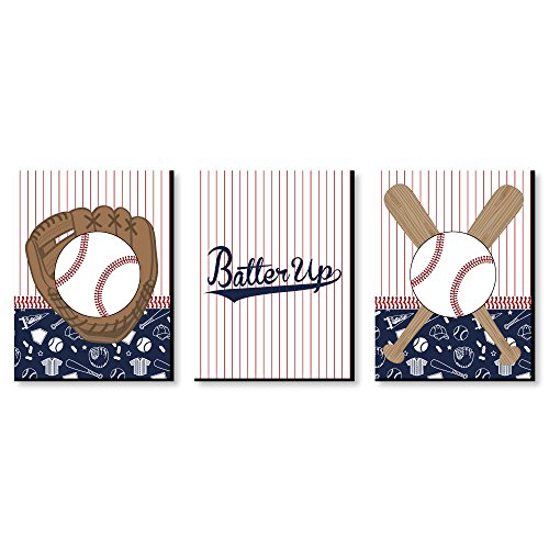 Batter Up - Baseball - Sports Themed Nursery Wall Art, Kids Room Decor and Game Room Home Decorations - 7.5 x 10 inches - Set of 3 Prints]()