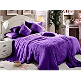 Luxe Soft Faux Fur Purple Double King Set Of 6-piece Solid Bedding Set
