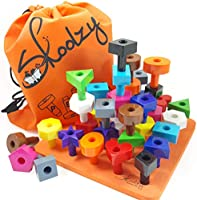 Skoolzy Peg Board Toddler Stacking Toys - STEM Color Sorting Learning Games - Montessori Toys for 1, 2, 3, 4 Year Old...