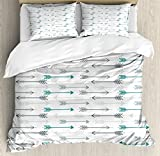 Teal Decor Queen Size Duvet Cover Set by Ambesonne, Retro Arrow Pattern In Horizontal Line Heading To Opposite Directions Artwork, Decorative 3 Piece Bedding Set with 2 Pillow Shams, Grey Teal White