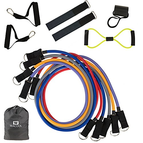 WACOOL Resistance Bands - 12 Piece Set Includes Exercise Tubes, Door Anchor, Foam Handles, Ankle Straps, Carry Bag - Weights Exercise, Fitness Workout, P90X - Stackable Up to 105 lbs