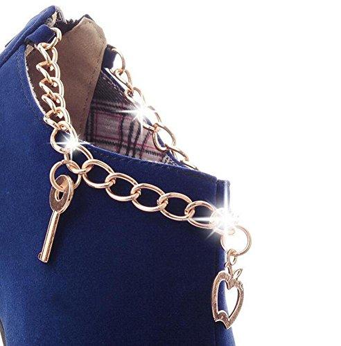Beauqueen Lita Suede Otoño Invierno Plataforma Almendra en forma de dedo del pie estilete de tacón alto Casual caliente femenina cremallera tamaño personalizado de Europa 32-43 Blue