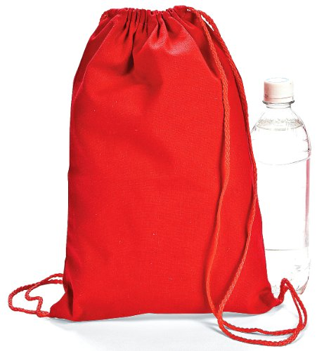 Red Drawstring Backpacks Dozen BULK