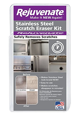 Rejuvenate Stainless Steel Scratch Eraser Kit Safely Removes Scratches Gouges Rust Discolored Areas Makes Stainless Steel Look Brand New – 6 Piece - Polish To Best Scratches Remove