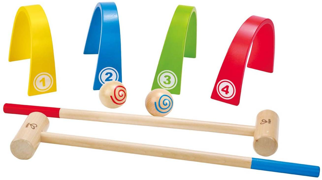 Award Winning Hape Colorful Croquet Wooden Outdoor Backyard Play Set by Hape