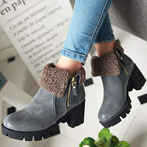 KingRover Boots Fur Ankle Grey Leisure Soft Comfort Chunky Zip Leather Heel Women's Dark qqpUBfC