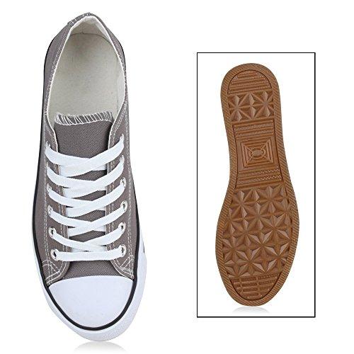 Übergrößen Low Weiss Flandell Grau Sneaker Stiefelparadies Unisex Damen Herren vxwzqqATX
