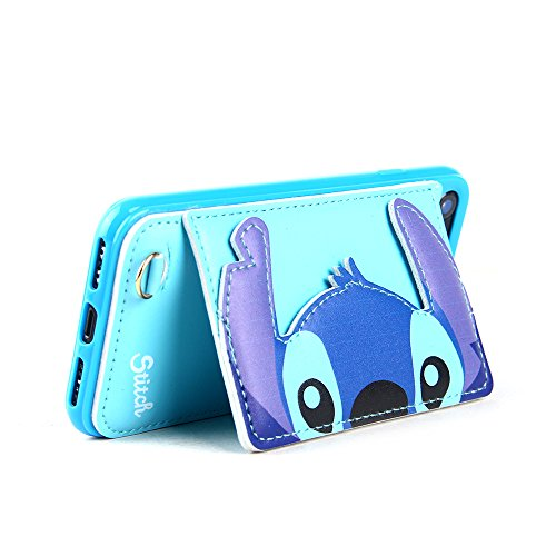 Blue Stitch Leather Case with Card Holder Stand for iPhone 7 8 iPhone7 iPhone8 Regular Size Kickstand Disney Cartoon Protective Pratical Shockproof Cute Lovely Chic Gift Kids Boys Girls Little Girls